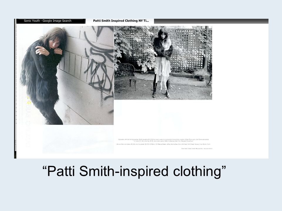 Patti Smith-inspired clothing