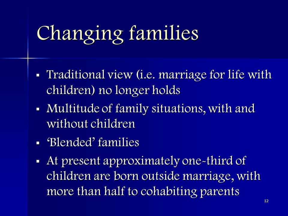 12 Changing families  Traditional view (i.e.