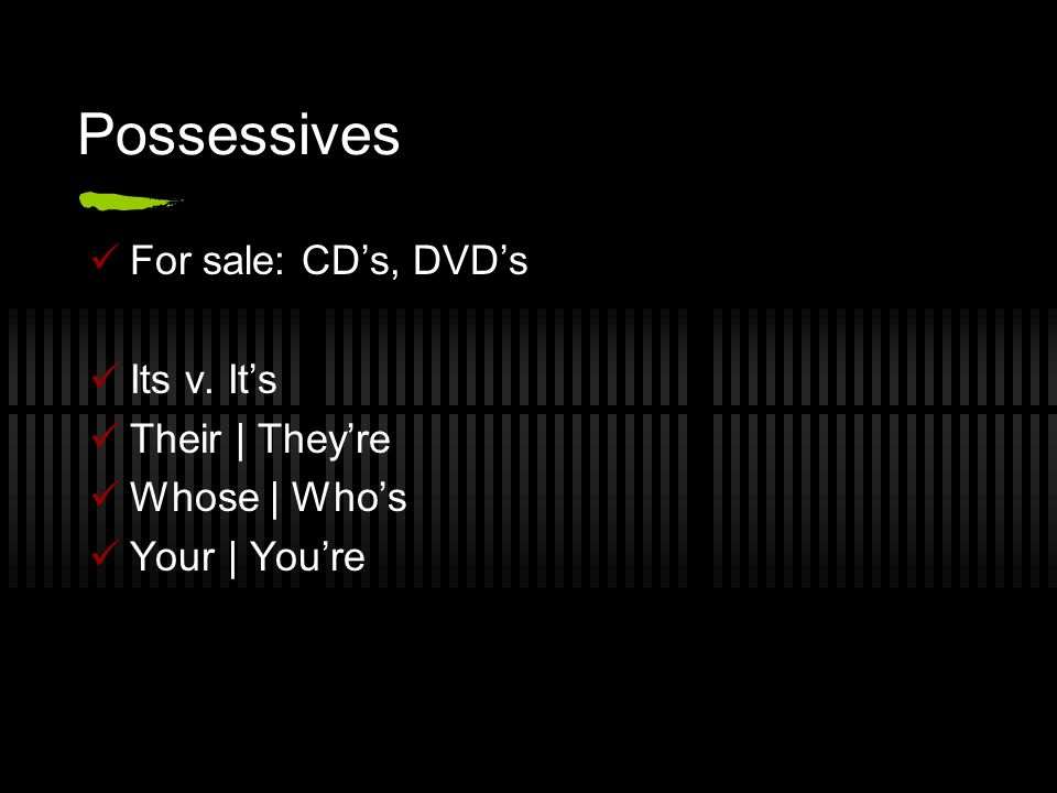 Possessives For sale: CD's, DVD's Its v. It's Their | They're Whose | Who's Your | You're