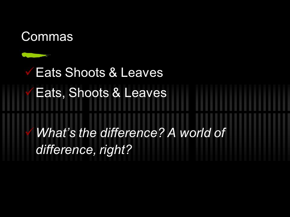 Commas Eats Shoots & Leaves Eats, Shoots & Leaves What's the difference.