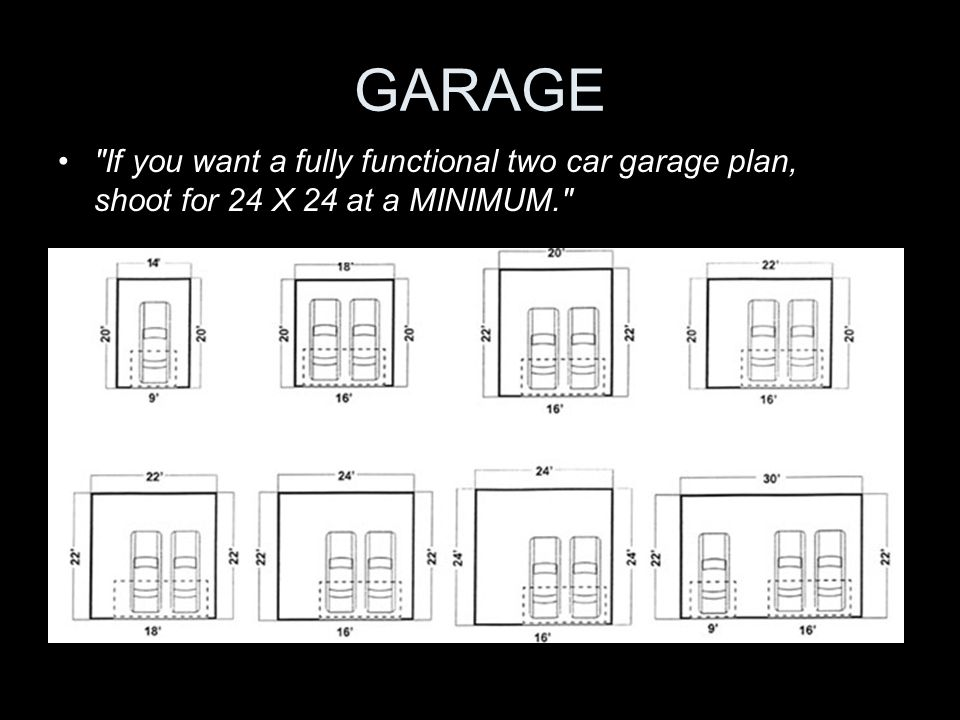 GARAGE If you want a fully functional two car garage plan, shoot for 24 X 24 at a MINIMUM.