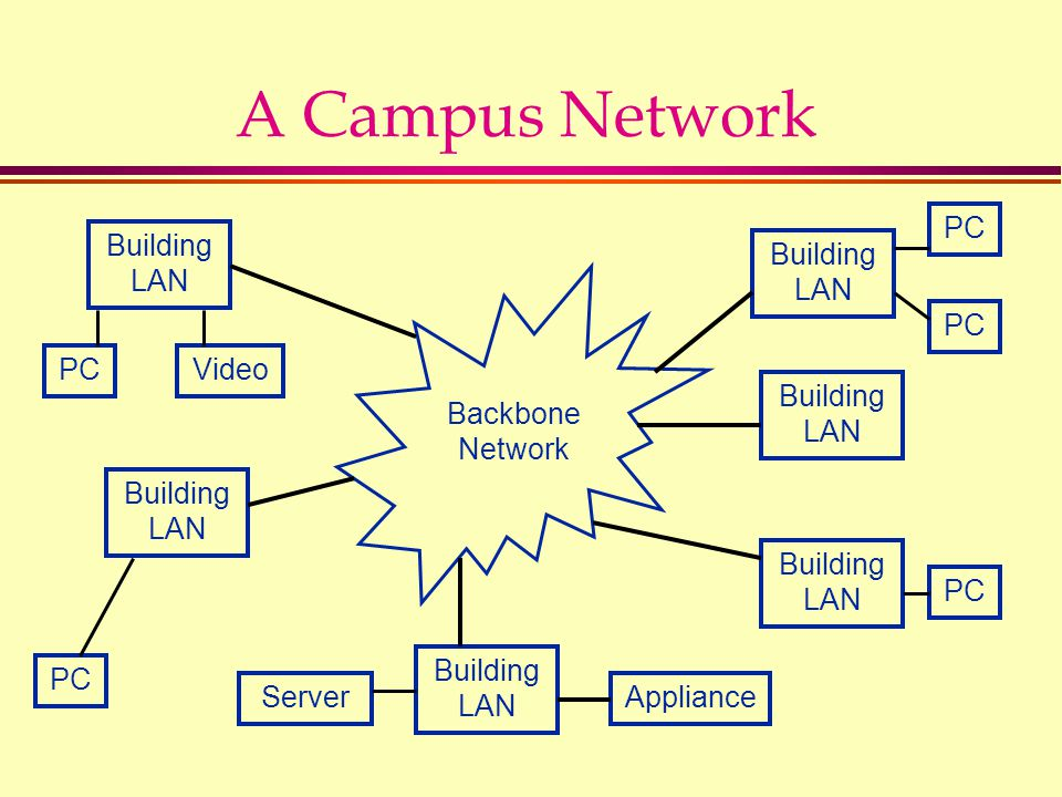 A Campus Network Building LAN PC Backbone Network Building LAN PC Video ApplianceServer