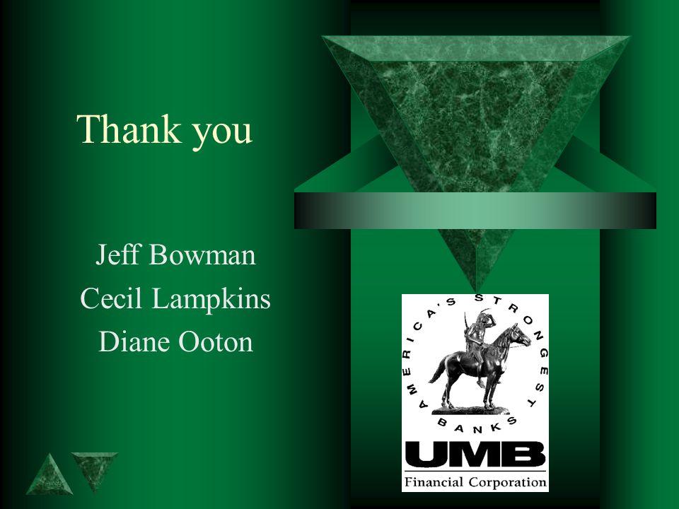 Thank you Jeff Bowman Cecil Lampkins Diane Ooton
