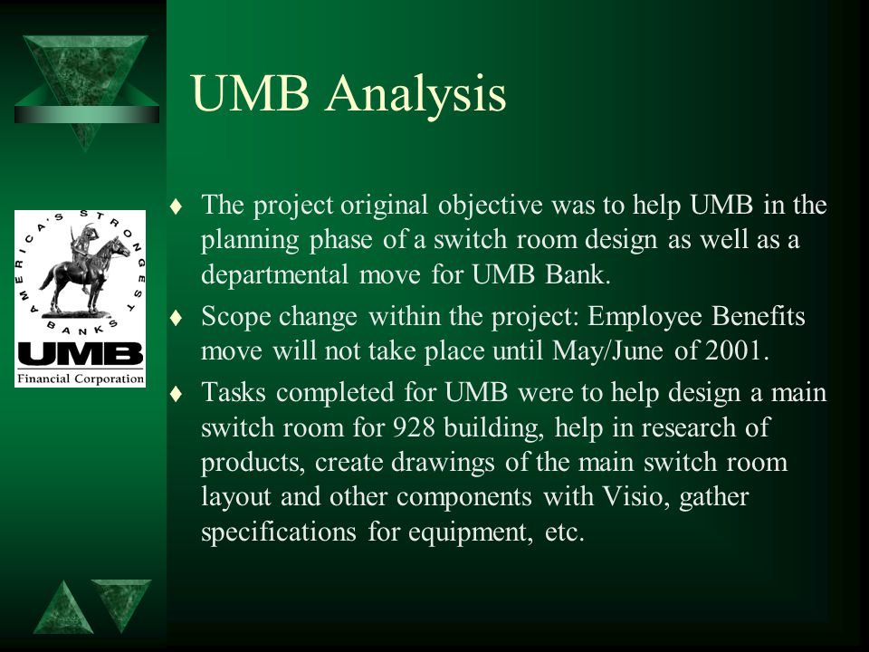 UMB Analysis t The project original objective was to help UMB in the planning phase of a switch room design as well as a departmental move for UMB Bank.