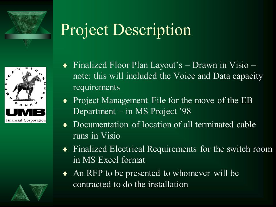 Project Description t Finalized Floor Plan Layout's – Drawn in Visio – note: this will included the Voice and Data capacity requirements t Project Man