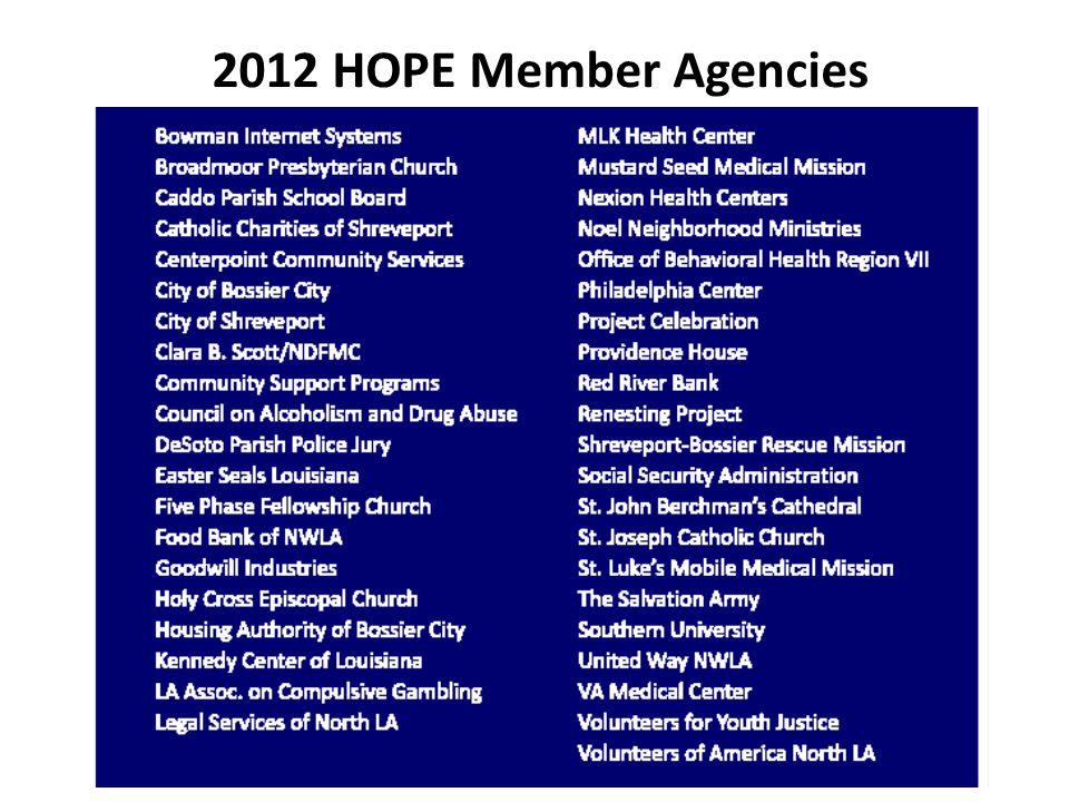 2012 HOPE Member Agencies