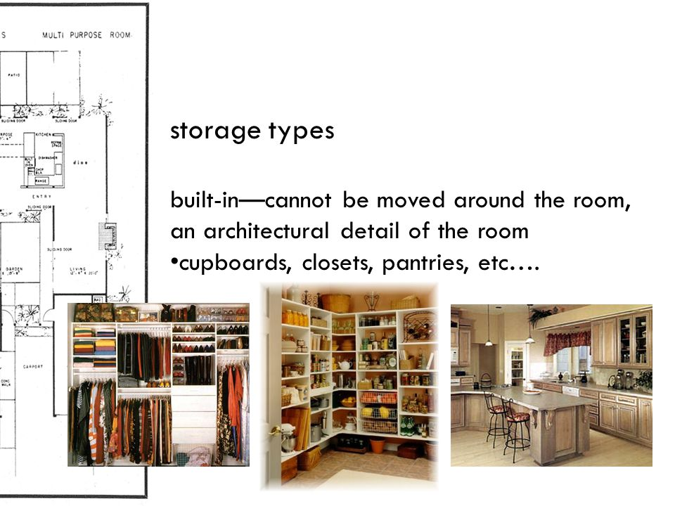 storage types built-in—cannot be moved around the room, an architectural detail of the room cupboards, closets, pantries, etc….