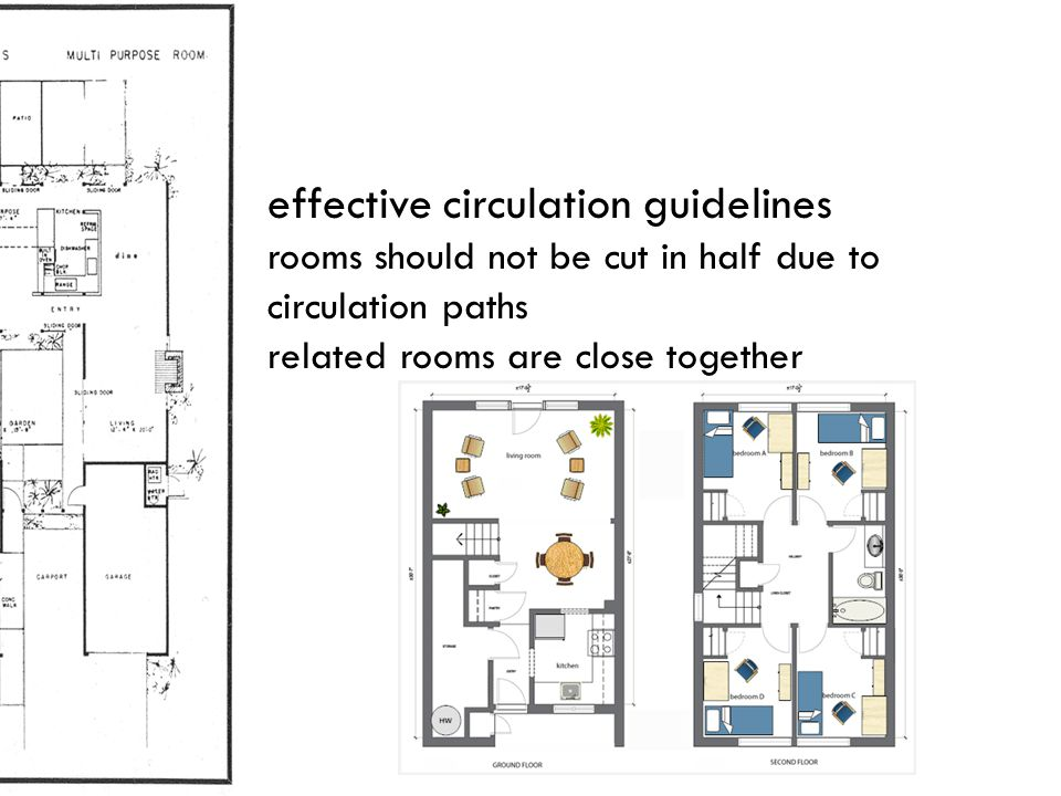 effective circulation guidelines rooms should not be cut in half due to circulation paths related rooms are close together