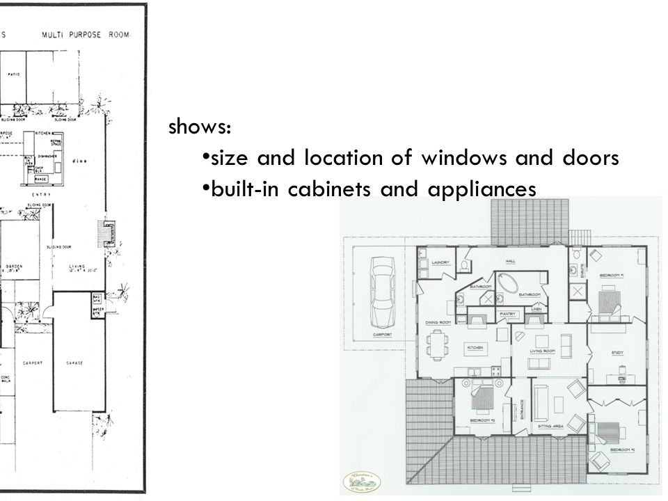 shows: size and location of windows and doors built-in cabinets and appliances