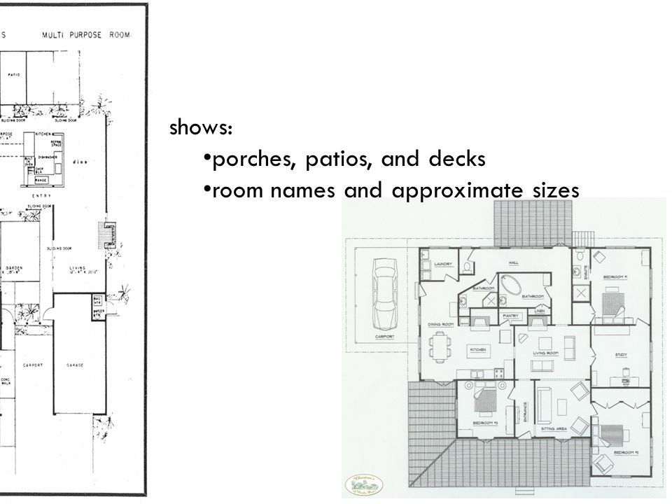 shows: porches, patios, and decks room names and approximate sizes