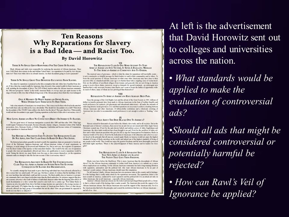 At left is the advertisement that David Horowitz sent out to colleges and universities across the nation.
