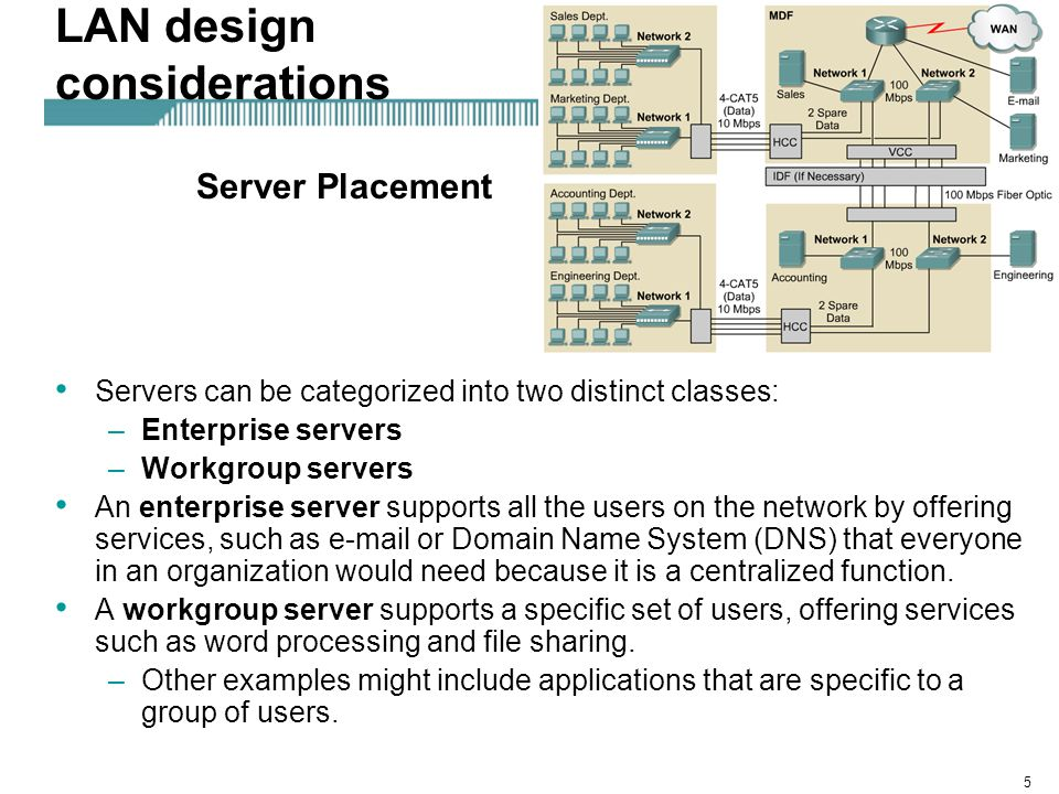 6 LAN design considerations Enterprise servers should be placed in the main distribution facility (MDF).