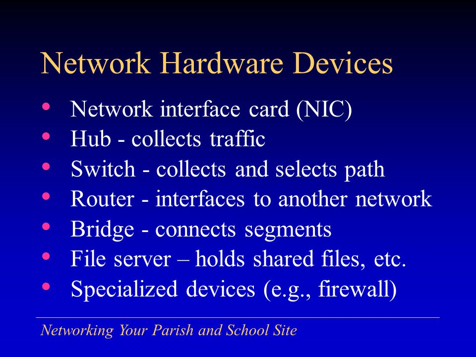 Networking Your Parish and School Site Network Hardware Devices Network interface card (NIC) Hub - collects traffic Switch - collects and selects path Router - interfaces to another network Bridge - connects segments File server – holds shared files, etc.