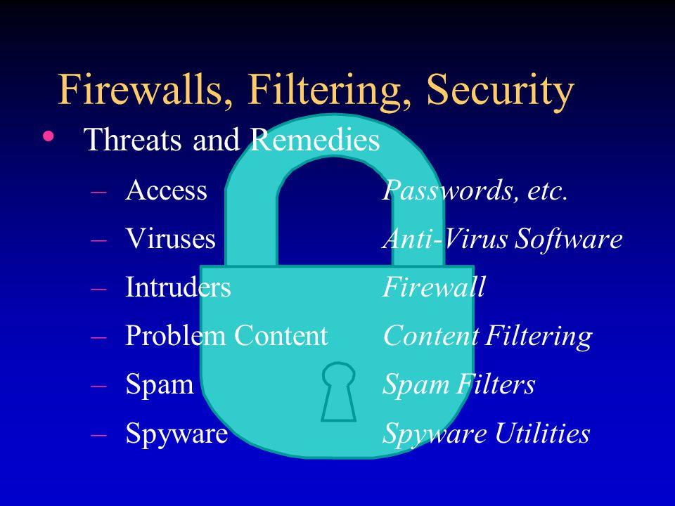 Firewalls, Filtering, Security Threats and Remedies –AccessPasswords, etc.