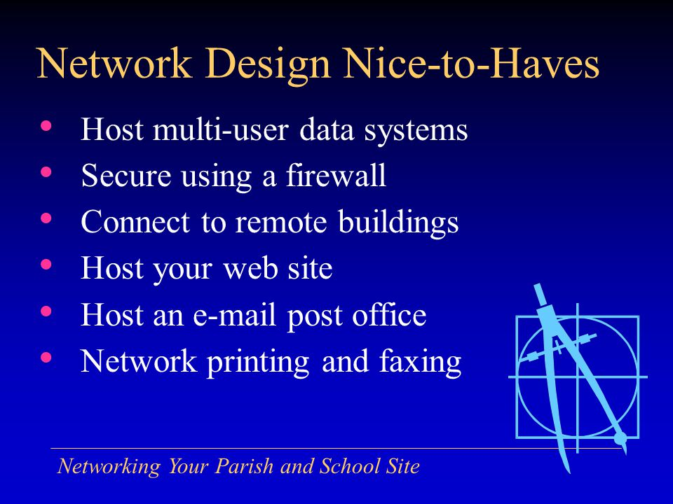 Networking Your Parish and School Site Network Design Nice-to-Haves Host multi-user data systems Secure using a firewall Connect to remote buildings H