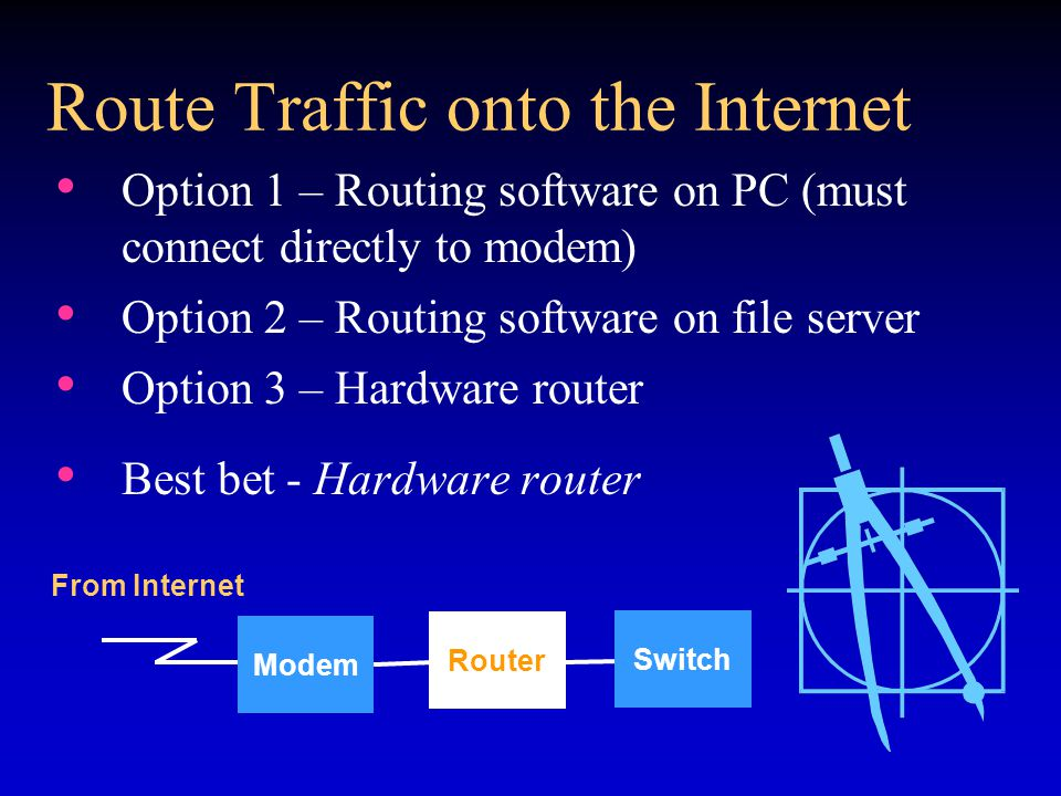 Route Traffic onto the Internet Option 1 – Routing software on PC (must connect directly to modem) Option 2 – Routing software on file server Option 3 – Hardware router Best bet - Hardware router Modem Router Switch From Internet