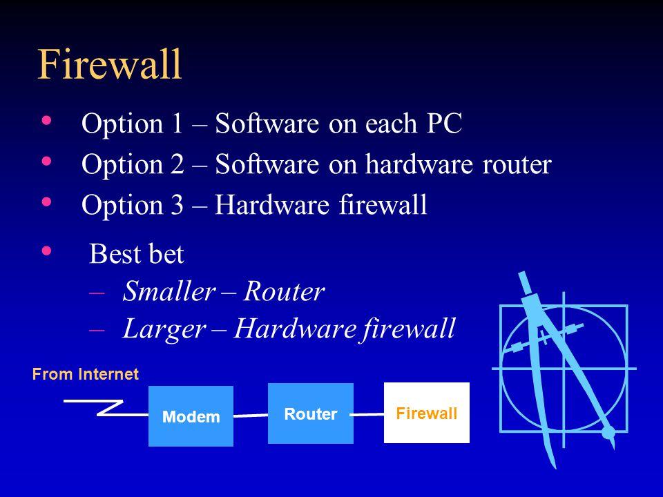 Firewall Option 1 – Software on each PC Option 2 – Software on hardware router Option 3 – Hardware firewall Best bet –Smaller – Router –Larger – Hardware firewall Modem Router Firewall From Internet
