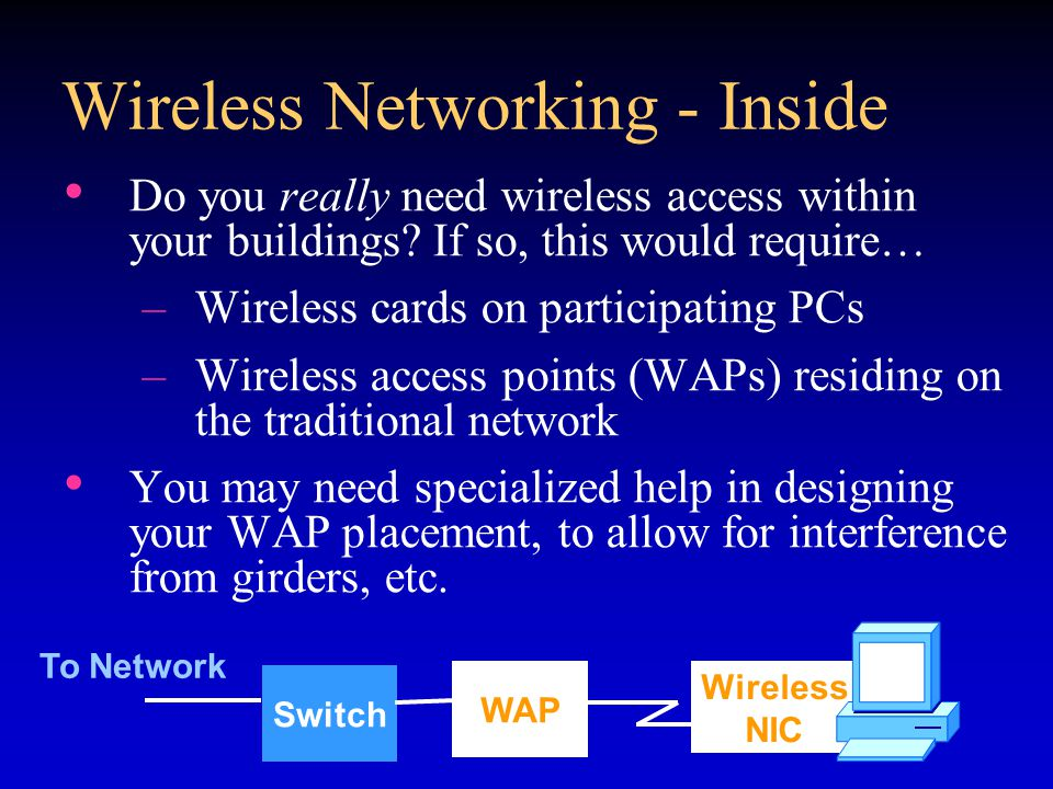 Wireless Networking - Inside Do you really need wireless access within your buildings.