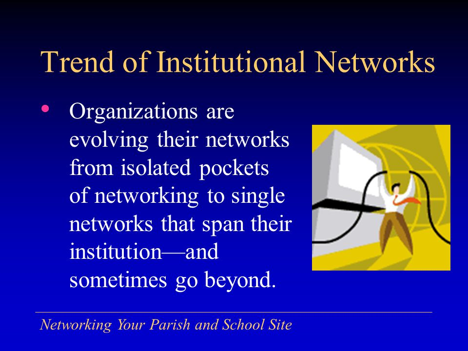 Connect to Other Buildings Hub or Switch Router Main Building Router Network Backbone via Trench or Overhead Spread Spectrum Radio Link Leased or Dial-Up Phone Line (or VPN via ISP) Campus Building Nearby Building Distant Building WAP NIC Campus Building Wi-Fi Wireless to Individual PCs