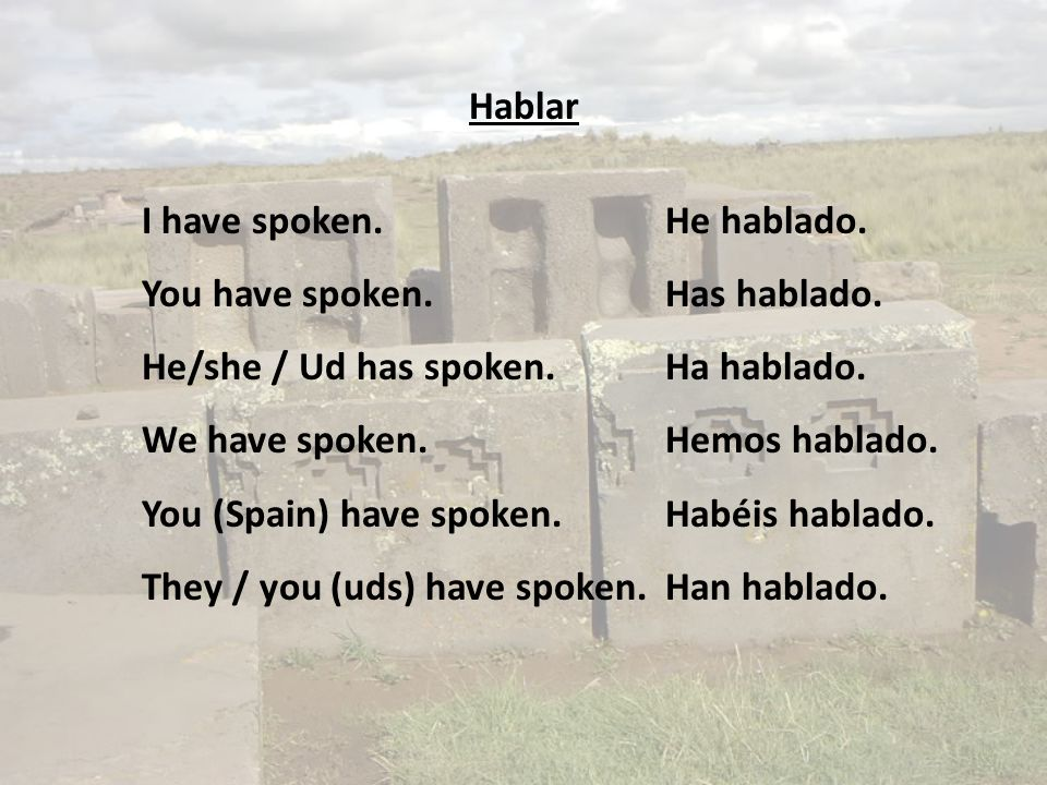 Hablar I have spoken.He hablado. You have spoken.Has hablado. He/she / Ud has spoken.Ha hablado. We have spoken.Hemos hablado. You (Spain) have spoken