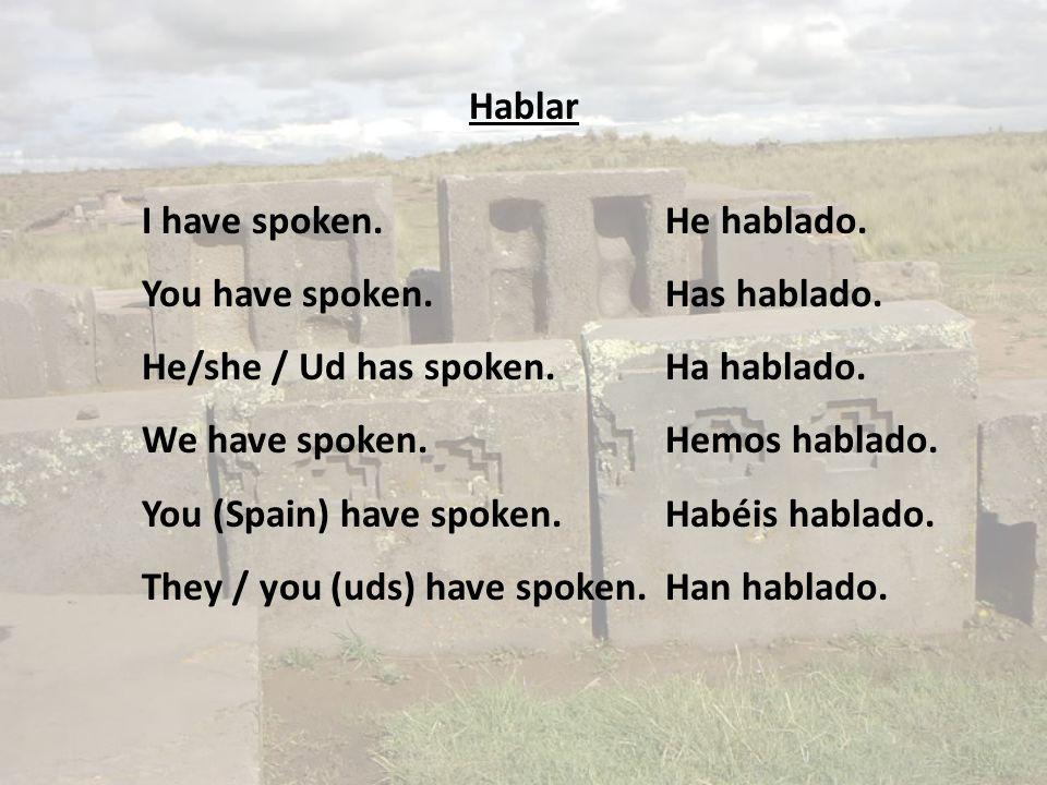 Hablar I have spoken.He hablado. You have spoken.Has hablado.
