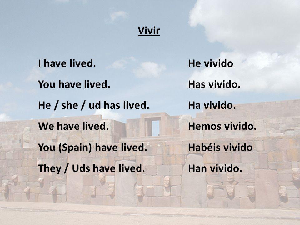 Vivir I have lived.He vivido You have lived.Has vivido.