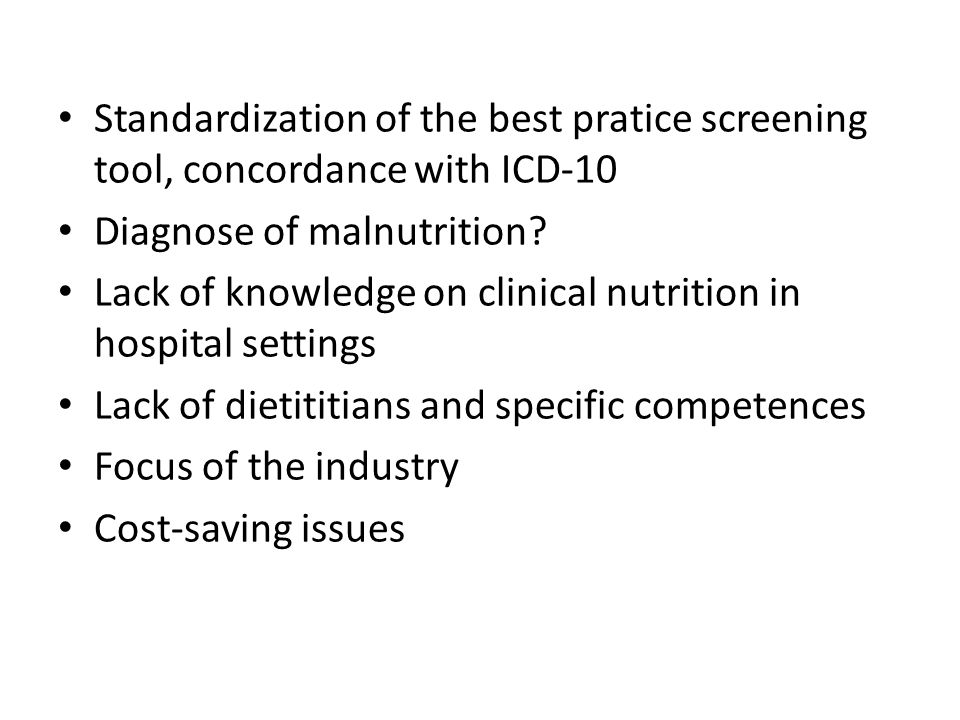 Standardization of the best pratice screening tool, concordance with ICD-10 Diagnose of malnutrition.