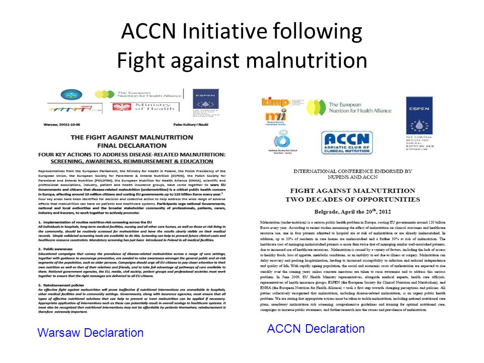 ACCN Initiative following Fight against malnutrition Warsaw Declaration ACCN Declaration