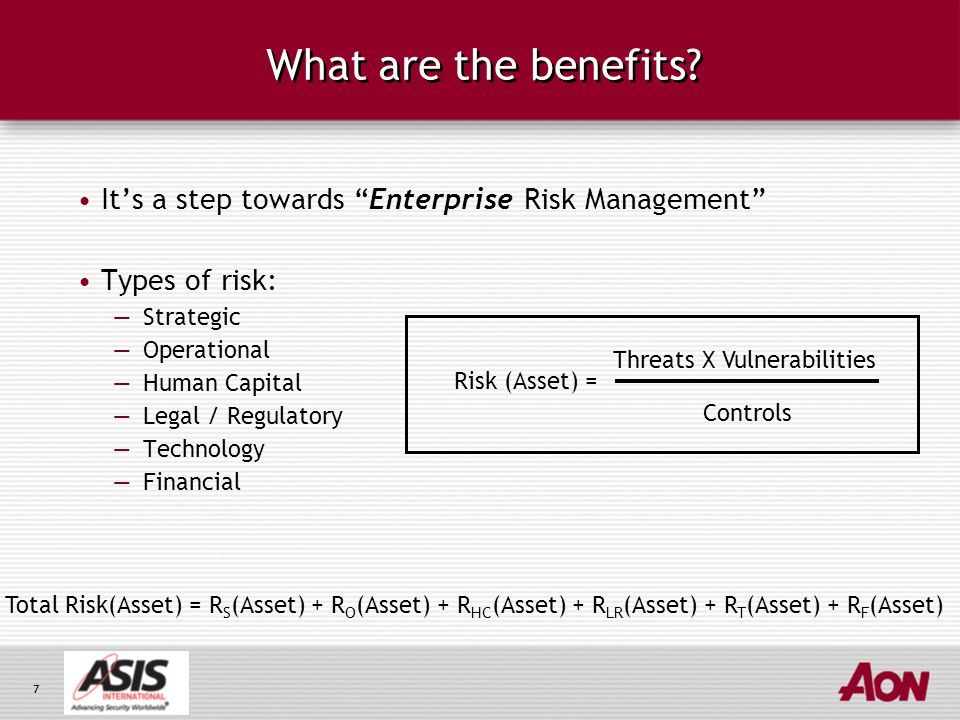8 Benefits of Holistic Risk Measurement 1.Identify the threats to specific business areas 2.Assess the level of vulnerability 3.Gauge the potential impact 4.Develop security option path Transfer Control Manage Security Options Risk Framework (Example)