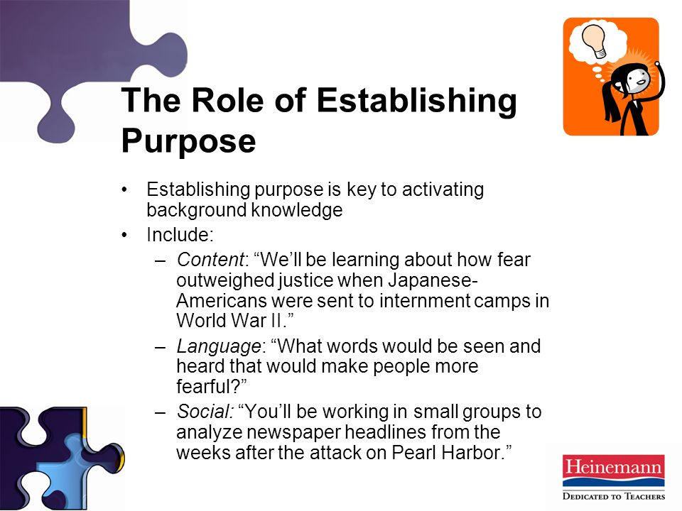 Establishing purpose is key to activating background knowledge Include: –Content: We'll be learning about how fear outweighed justice when Japanese- Americans were sent to internment camps in World War II. –Language: What words would be seen and heard that would make people more fearful –Social: You'll be working in small groups to analyze newspaper headlines from the weeks after the attack on Pearl Harbor. The Role of Establishing Purpose
