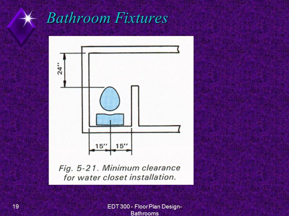 19EDT 300 - Floor Plan Design- Bathrooms Bathroom Fixtures