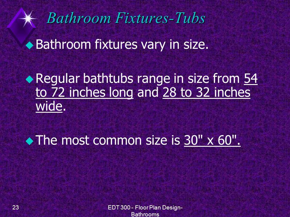 23EDT 300 - Floor Plan Design- Bathrooms Bathroom Fixtures-Tubs u Bathroom fixtures vary in size.