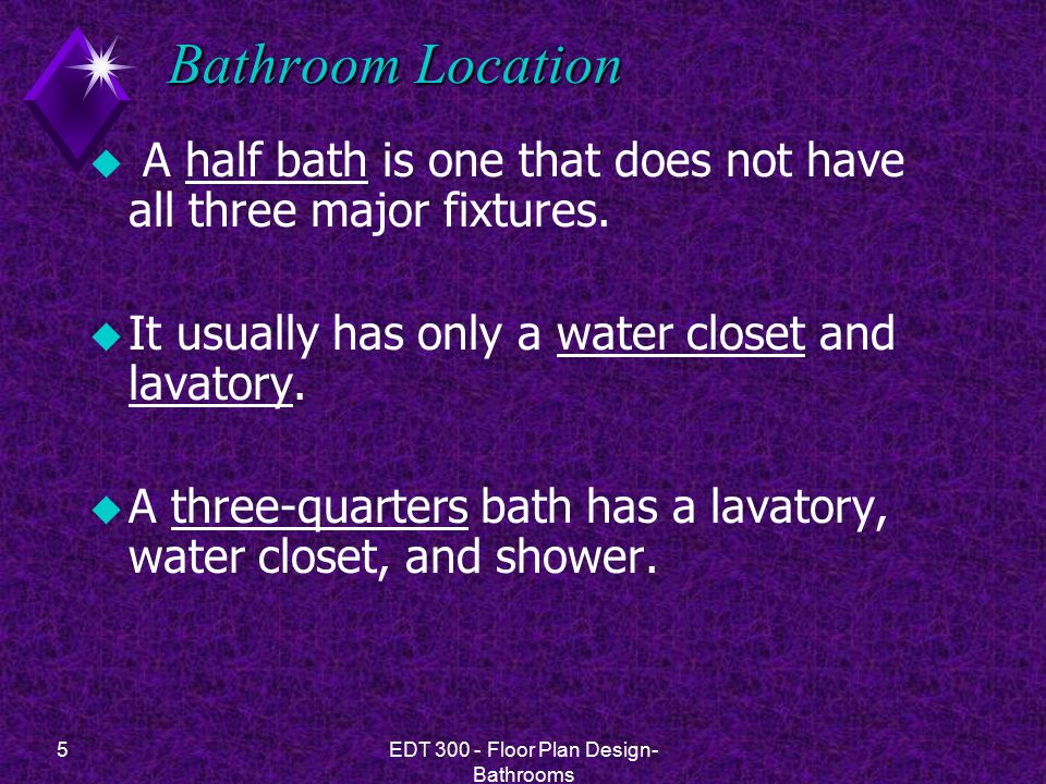 5EDT 300 - Floor Plan Design- Bathrooms Bathroom Location u A half bath is one that does not have all three major fixtures.