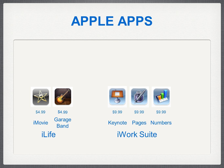 APPLE APPS iLife iWork Suite $9.99 $4.99 Keynote Garage Band PagesNumbersiMovie