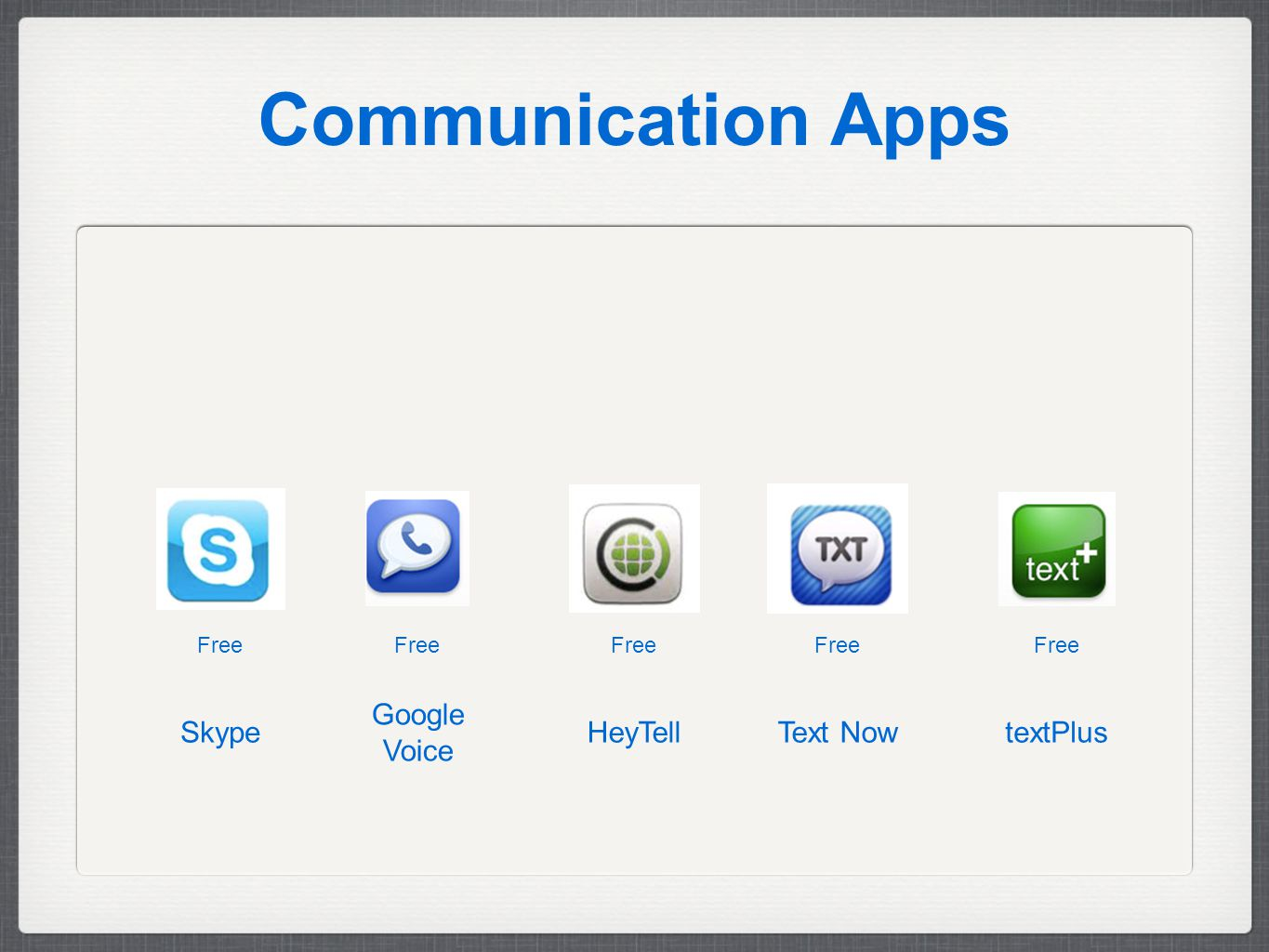Communication Apps Free textPlusText NowHeyTell Google Voice Skype