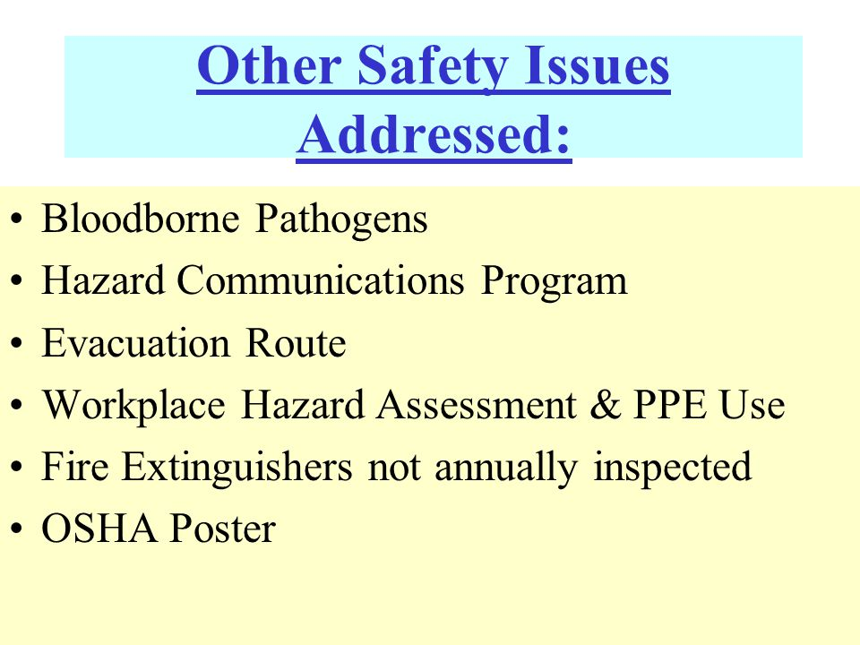 Other Safety Issues Addressed: Bloodborne Pathogens Hazard Communications Program Evacuation Route Workplace Hazard Assessment & PPE Use Fire Extinguishers not annually inspected OSHA Poster