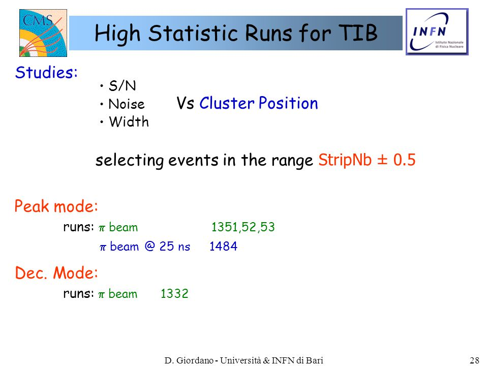 D. Giordano - Università & INFN di Bari28 High Statistic Runs for TIB Peak mode: runs:  beam 1351,52,53  beam @ 25 ns1484 Dec. Mode: runs:  beam133