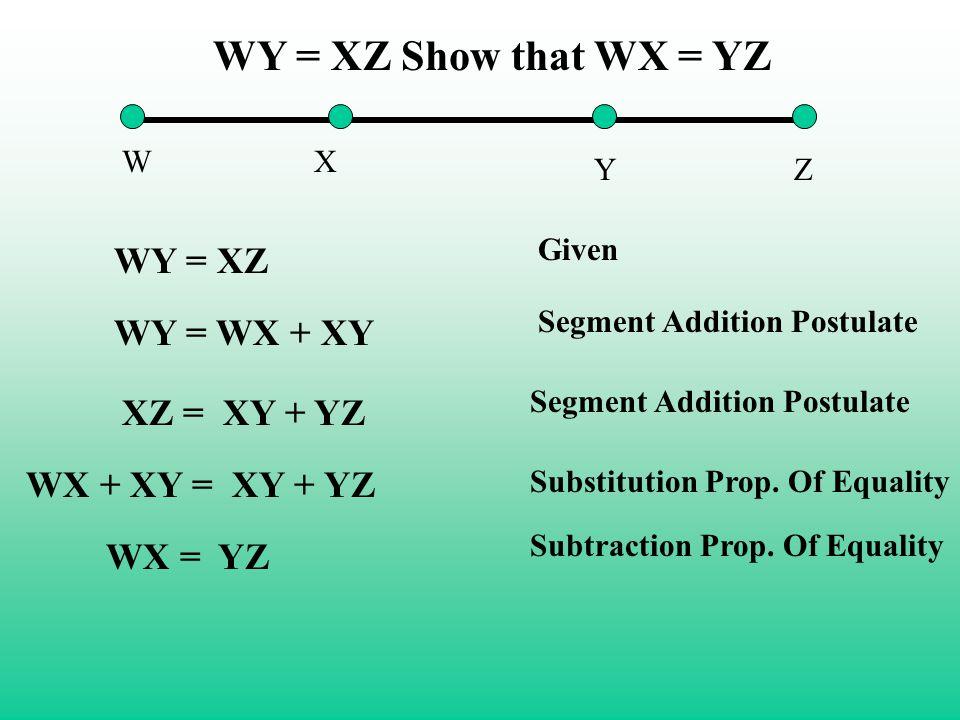 WX YZ WY = XZ Show that WX = YZ WY = XZ Given WY = WX + XY Segment Addition Postulate XZ = XY + YZ WX + XY = XY + YZ Substitution Prop. Of Equality WX
