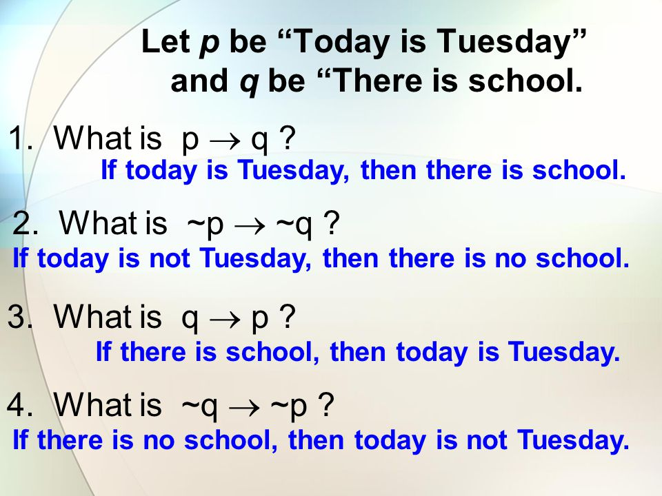 """Let p be """"Today is Tuesday"""" and q be """"There is school. 1. What is p  q ? 2. What is ~p  ~q ? 3. What is q  p ? 4. What is ~q  ~p ? If today is Tue"""