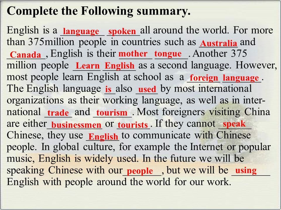 Complete the Following summary.English is a ________ ______all around the world.