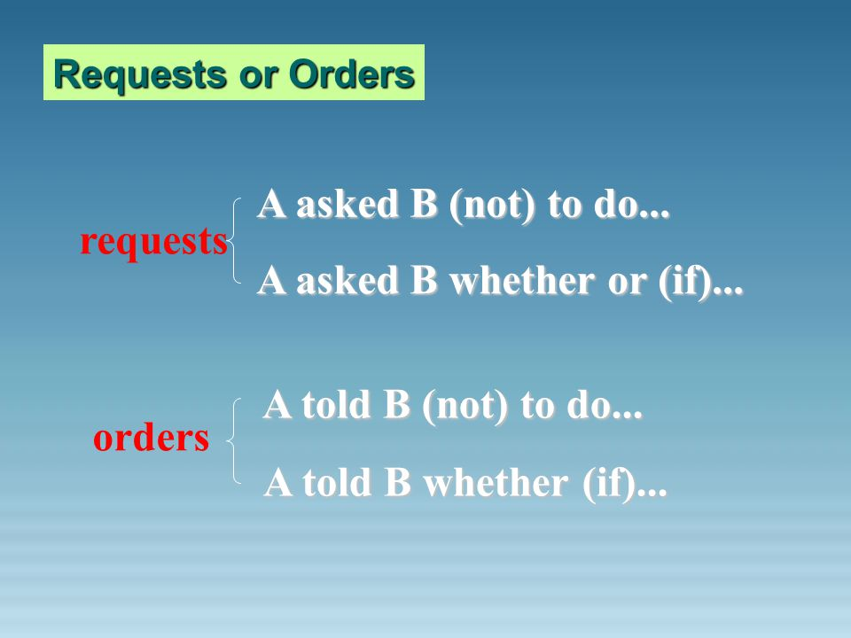 Requests or Orders requests A asked B (not) to do... A asked B whether or (if)... orders A told B (not) to do... A told B whether (if)...
