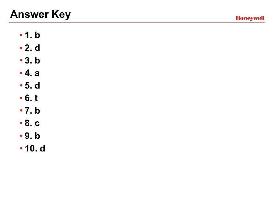 Answer Key 1. b 2. d 3. b 4. a 5. d 6. t 7. b 8. c 9. b 10. d