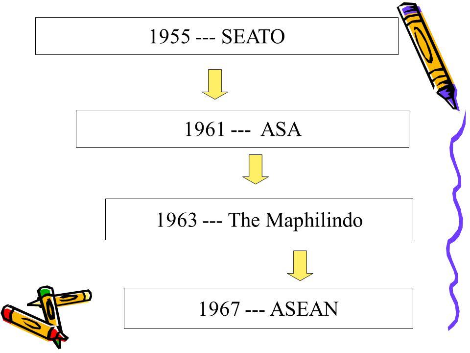 1961 --- ASA 1963 --- The Maphilindo 1967 --- ASEAN 1955 --- SEATO