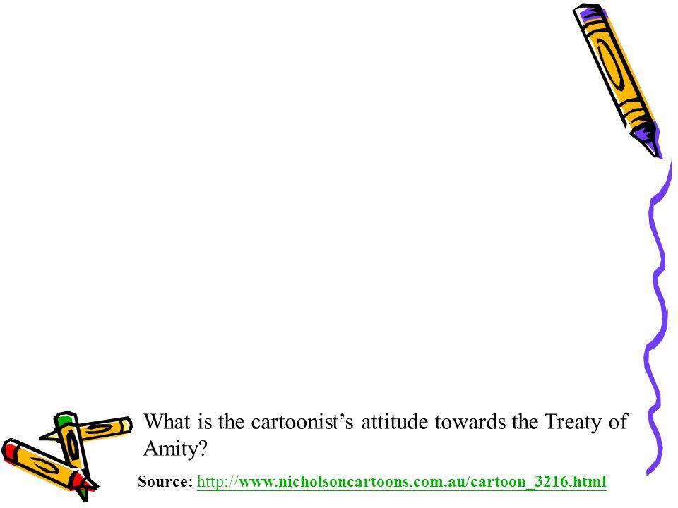 What is the cartoonist's attitude towards the Treaty of Amity.