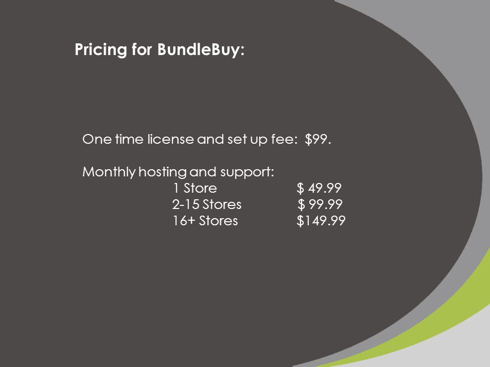 Pricing for BundleBuy: One time license and set up fee: $99.