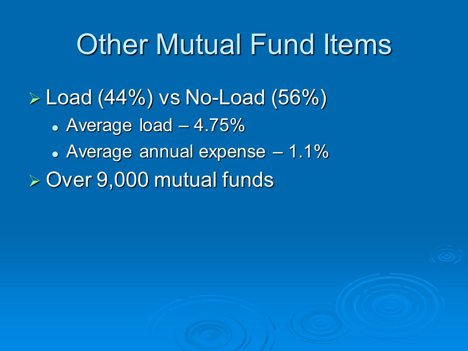 Other Mutual Fund Items  Load (44%) vs No-Load (56%) Average load – 4.75% Average load – 4.75% Average annual expense – 1.1% Average annual expense – 1.1%  Over 9,000 mutual funds