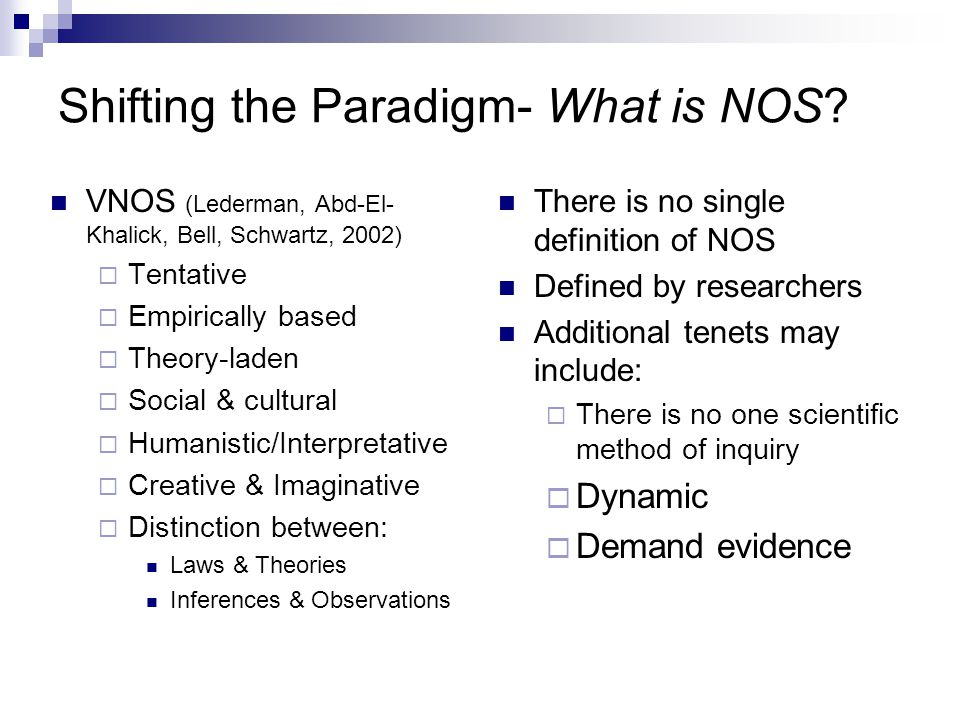 Shifting the Paradigm- What is NOS.