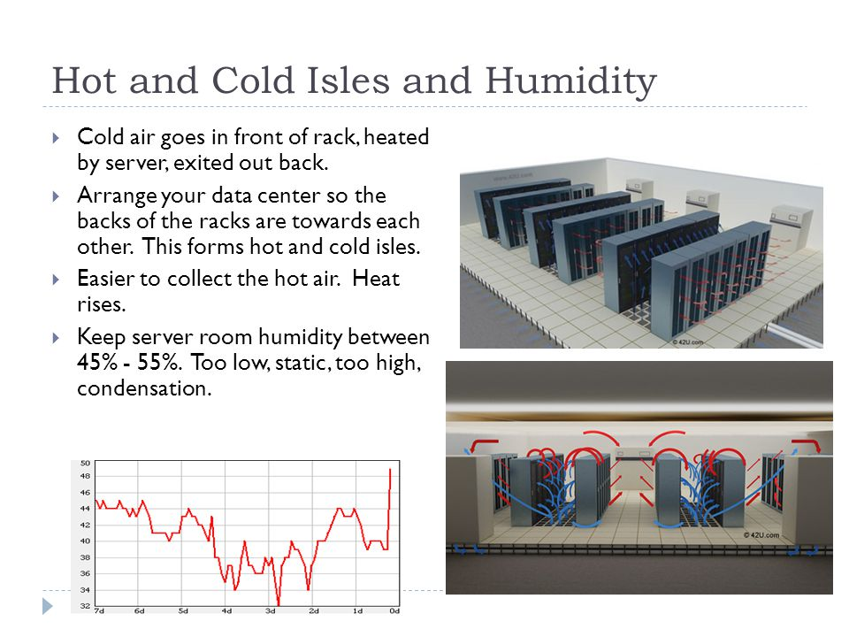 Hot and Cold Isles and Humidity  Cold air goes in front of rack, heated by server, exited out back.