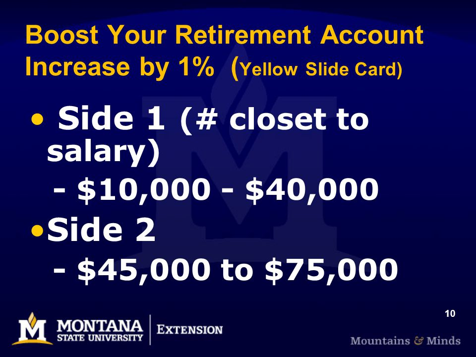 10 Boost Your Retirement Account Increase by 1% ( Yellow Slide Card) Side 1 (# closet to salary) - $10,000 - $40,000 Side 2 - $45,000 to $75,000