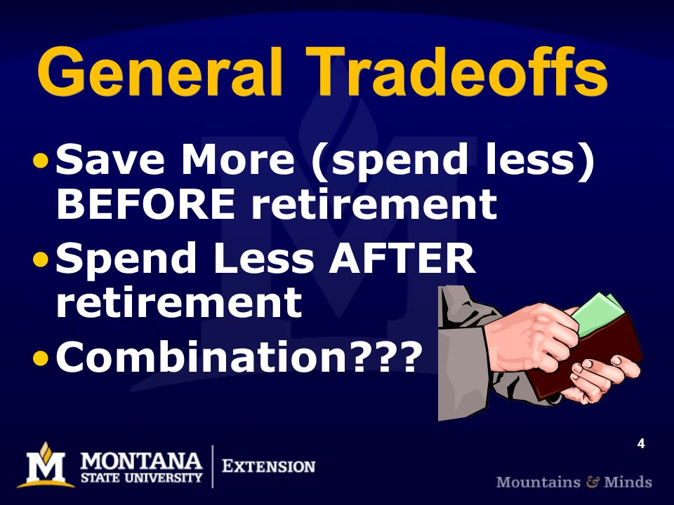 4 General Tradeoffs Save More (spend less) BEFORE retirement Spend Less AFTER retirement Combination